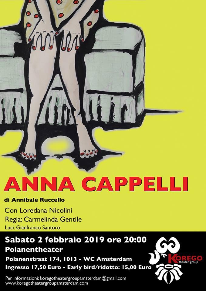 Locandina Anna Cappelli ' Sabato 2 Febbraio 2019, Amsterdam, Polanentheater ore 20:00