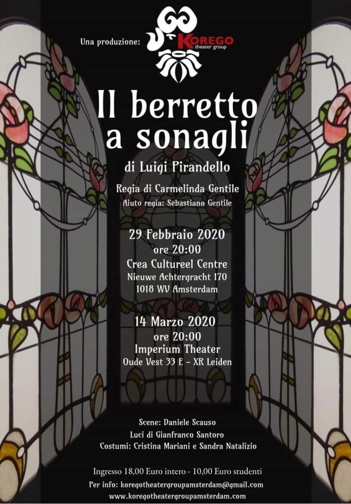 Il Korego Theater Group presenta Il Berretto a Sonagli di Luigi Pirandello ad Amsterdam e Leiden